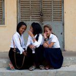 Makara, Lysa, and Foty, students at Trokeat school.